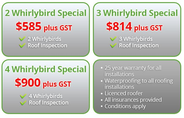 Whirlybird Prices The Sydney Roof Doctor